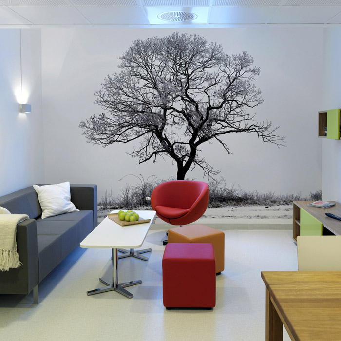 Roca large custom mural in the snowy tree modern minimalist bedside pastoral wallpaper background wallpaper den restaurant