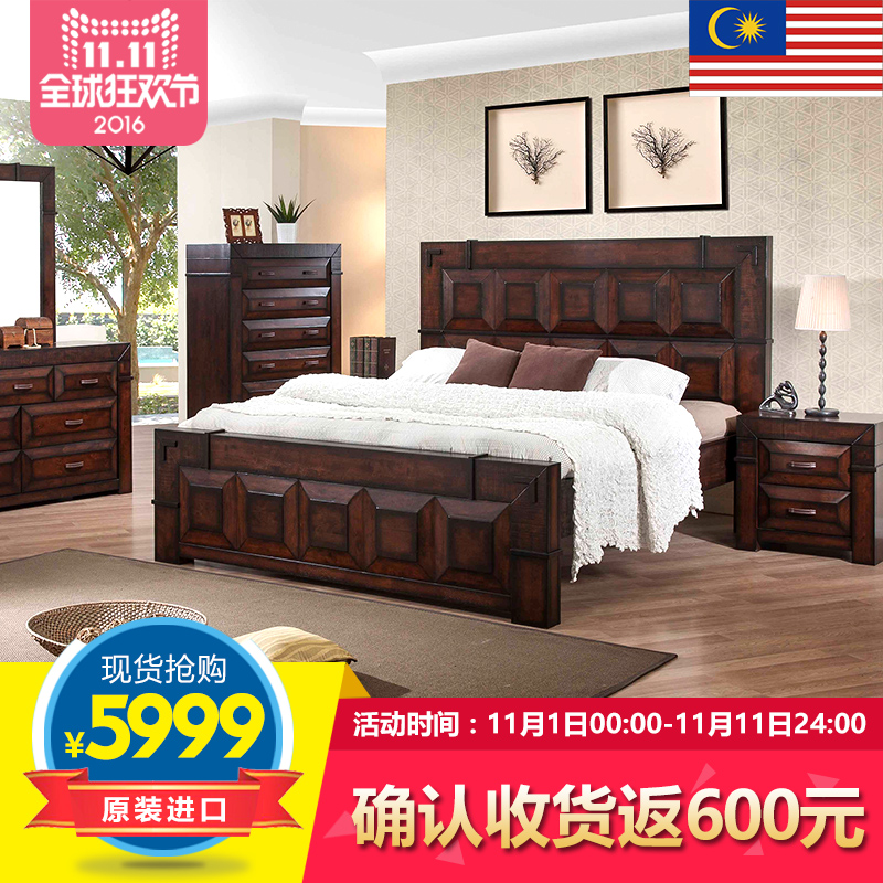 Roca nest imported american classical furniture wood bedside cabinet bedside cabinet combination bedroom bed 1 + 2 special bed