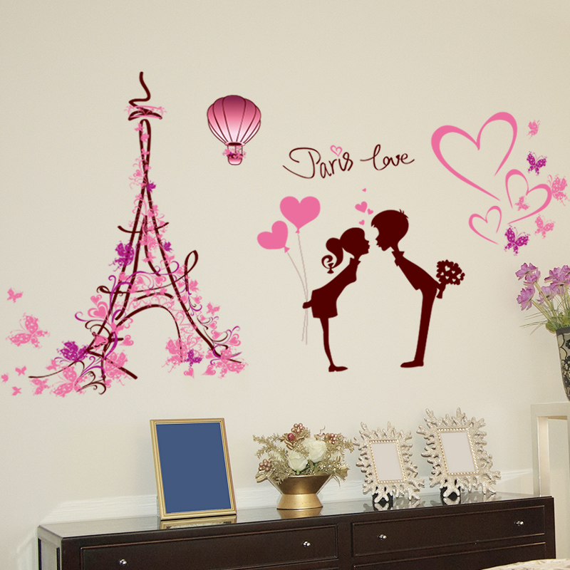 Romantic love in paris couple living room sofa bedroom bedside tv wall stickers decorative background sticker wall stickers paper