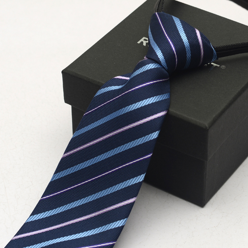 Romguest men's business suits for men and women wear blue striped tie zipper tie easy to pull convenient 8cm box