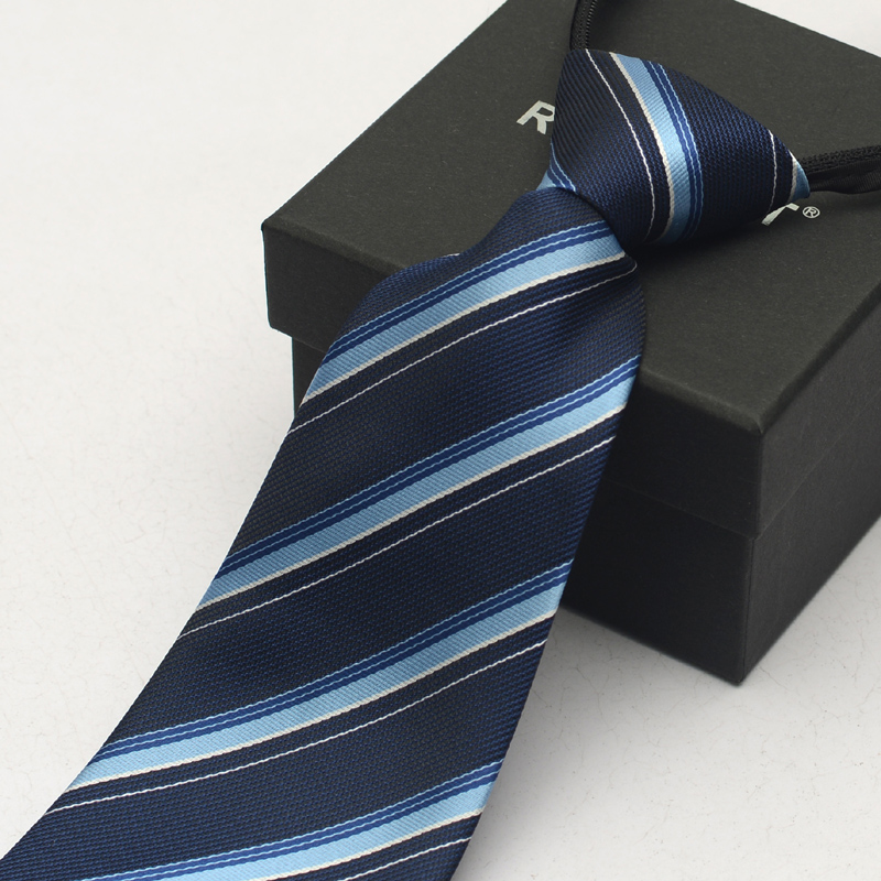 Romguest men's easy to pull zipper tie blue striped tie formal wear tie boxed accessorise