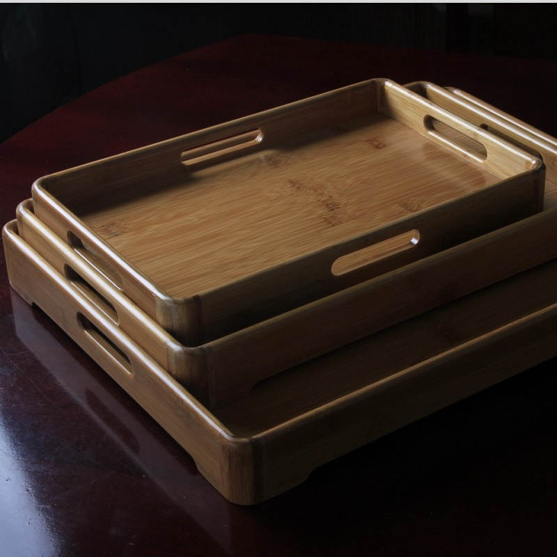 Round bamboo products bamboo tray bamboo tea tray large trumpet tea sets tea saucer japanese restaurant kitchen rectangular tea