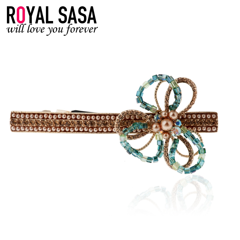 Royal salsa hair accessories korea crystal rhinestone flower hairpin hairpin top folder korean version of the classic female headdress