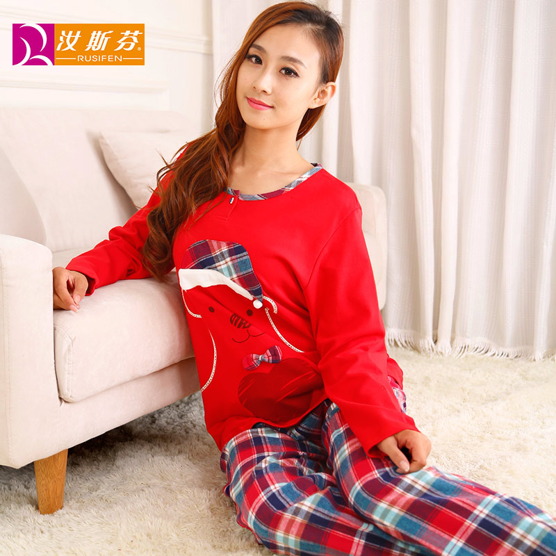 Ru sven spring and autumn cotton long sleeve pajamas female cartoon hedging round neck cotton tracksuit trousers 250423