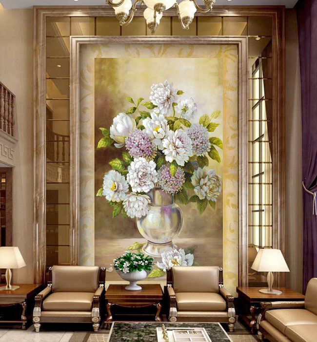 Rubik's cube round diamond cross euclidian peony new living room vase of flowers embroidered diamond paste diamond drill painting restaurant
