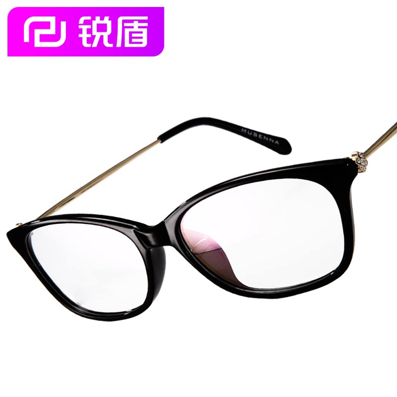 Rui shield 3d glasses myopia female models retro handmade white formica spindly legs round frame glasses plain mirror fashion trend models