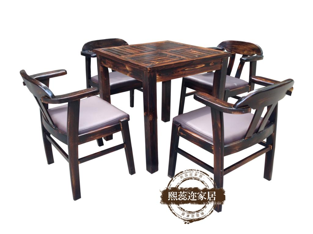 Rui xi er carbonized wood preservative outdoor patio bar furniture balcony casual coffee table and chairs combo kit