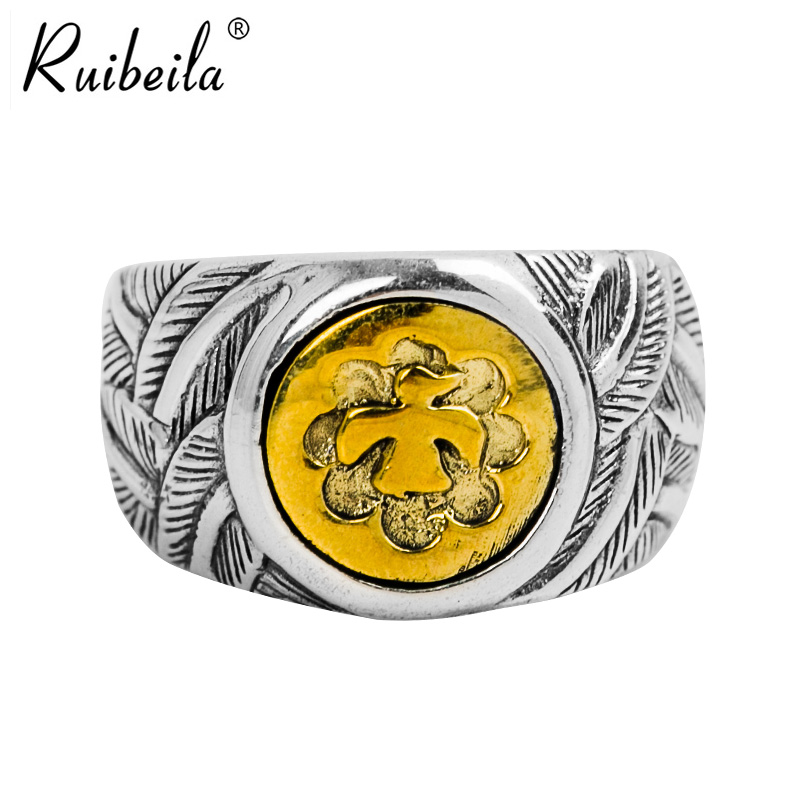 Ruibeila925 silver goro takahashi eagle feather pattern thai silver ring ring opening japan and south korea men's minimalist