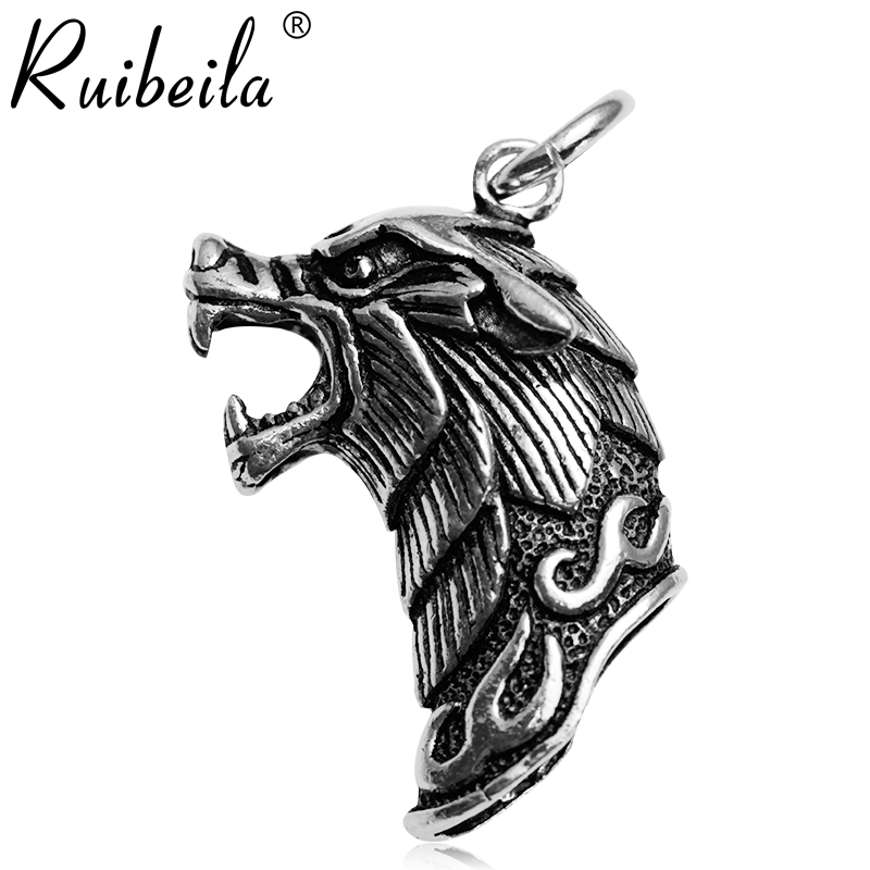 Ruibeila925 silver three-dimensional tiger head retro personality sterling silver pendant necklace men to do the old black silver