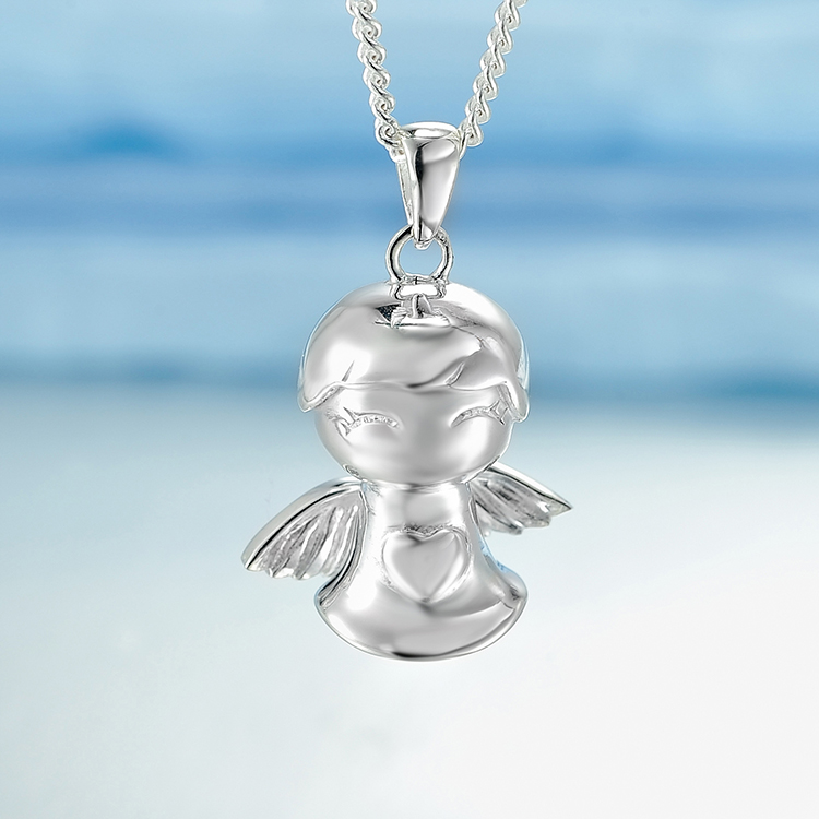 Ruifeng silver 99 fine silver cute little angel pendant necklace female fashion silver jewelry chain baby gift items