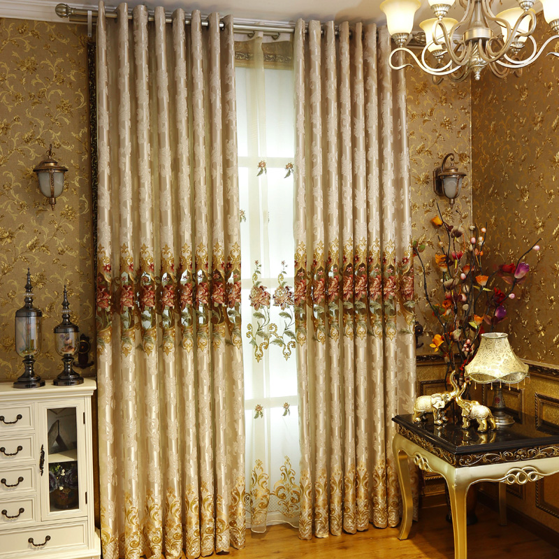 Get Quotations · Run A Knitted Fabric Living Room Luxury European Garden  Flowers Embroidered Curtains Custom Luxury Villa Buyi