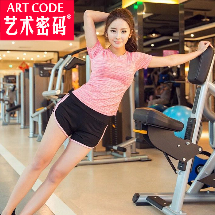 Running short sleeve shorts sports suit female piece slim summer clothes female fitness yoga clothes sports bra shock