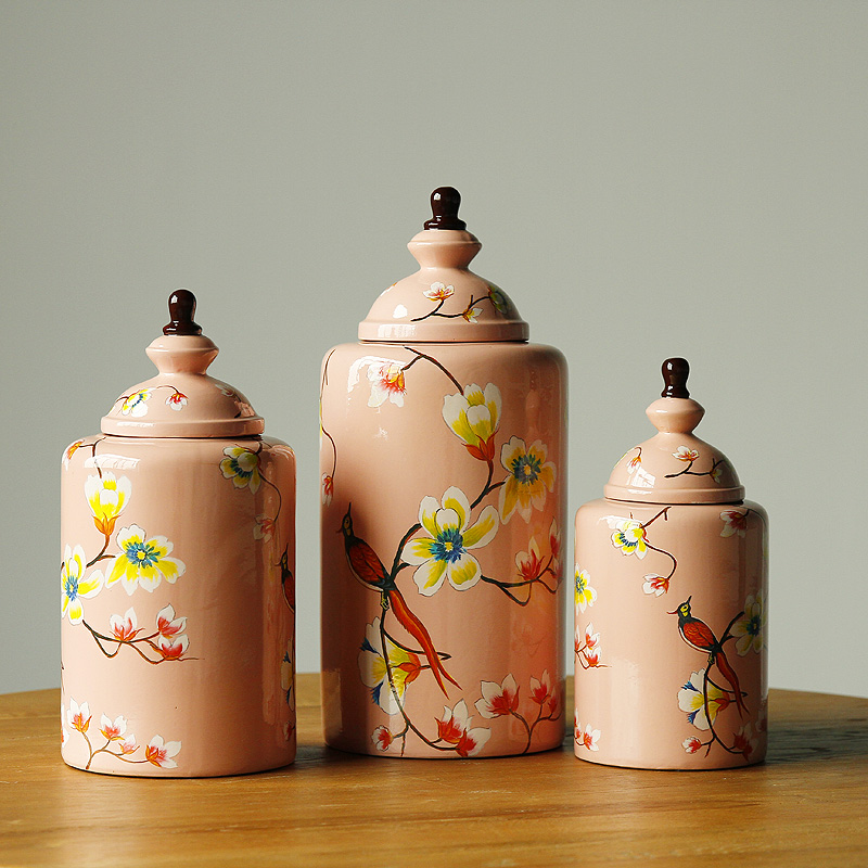 Rural countryside painted pink parrot home accessories crafts ornaments ceramic storage jar storage tank sealed cans