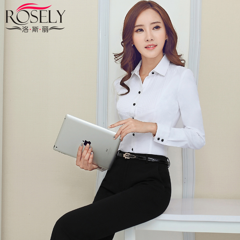 "653131610d2 Get Quotations · Ã""s liesl new hotel uniforms overalls female white long  sleeve fashion repair body shirts"