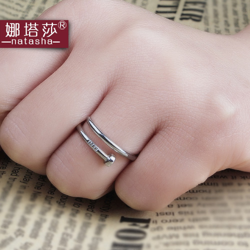S925 silver couple rings ring screws breadwinner silver ring ring female korean fashion silver ring on the ring ring lettering