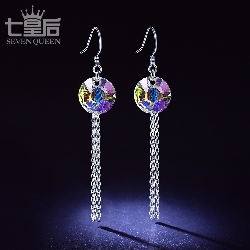 S925 silver earrings female south korean temperament simple earrings tassel earrings earrings crystal earrings hypoallergenic gas quality