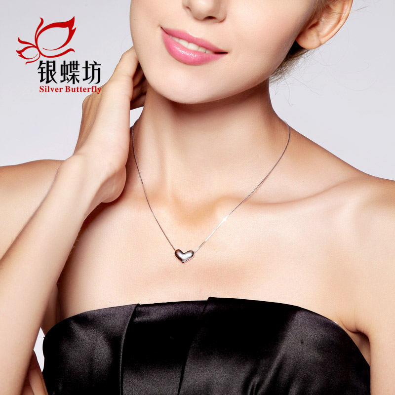 S925 silver pendant necklace female south korean short paragraph clavicle heart pendant necklace silver jewelry female models fashion korean version