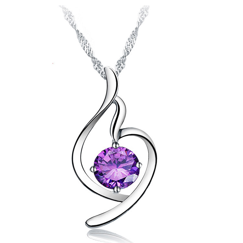 S925 silver purple crystal pendant silver necklace female short paragraph clavicle chain fashion clothes with jewelry korean version of flash diamond