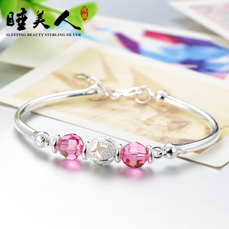 S999 fine silver bracelet sterling silver crystal bracelet female bracelet sterling silver bracelet female valentine's day gift to send his girlfriend