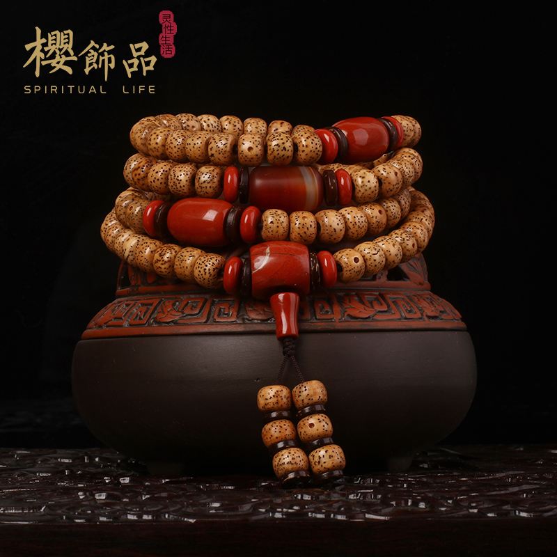 Sakura old seed beads xingyue pu tizi 108 pieces of natural seed chen lunar January jin chanzi month high density dry grinding bracelet necklace men and women