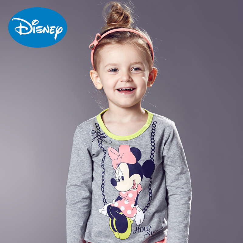 Sale of disney children's cartoon t-shirt long sleeve shirt round neck t-shirt for girls in children knitted models fall sports childrenwear