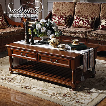 Salou us american all wood coffee table coffee table coffee table square coffee table solid wood coffee table vintage american country villa k01