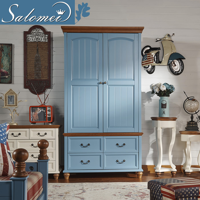 Salou us specials all solid wood doors pure solid wood wardrobe two 2 raw wood small apartment mediterranean garden style