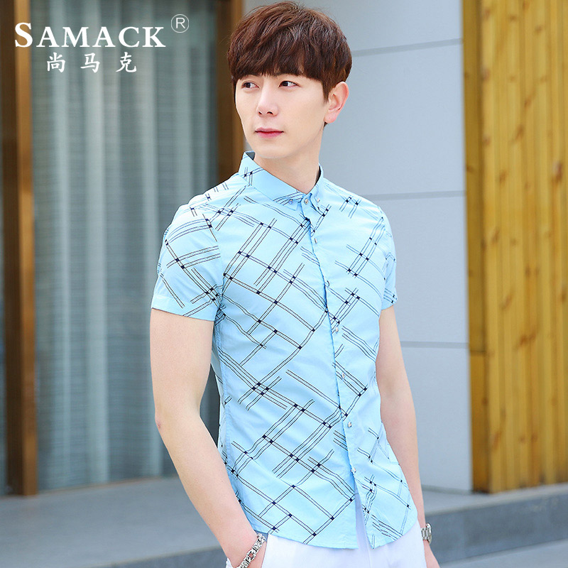 Samack/still mark 2016 summer men's fashion casual men's shirt slim plaid short sleeve shirt tide