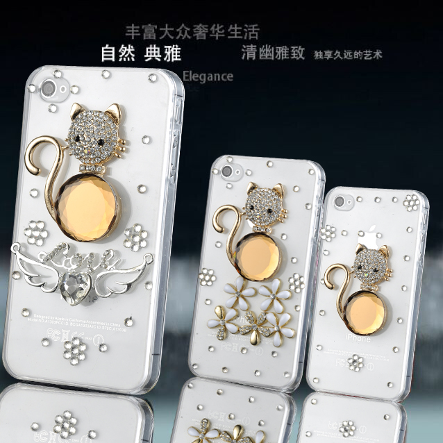 Samsung g850/galaxy/alpha/g8508s/g8509v big diamond rhinestone mobile phone shell protective shell cat