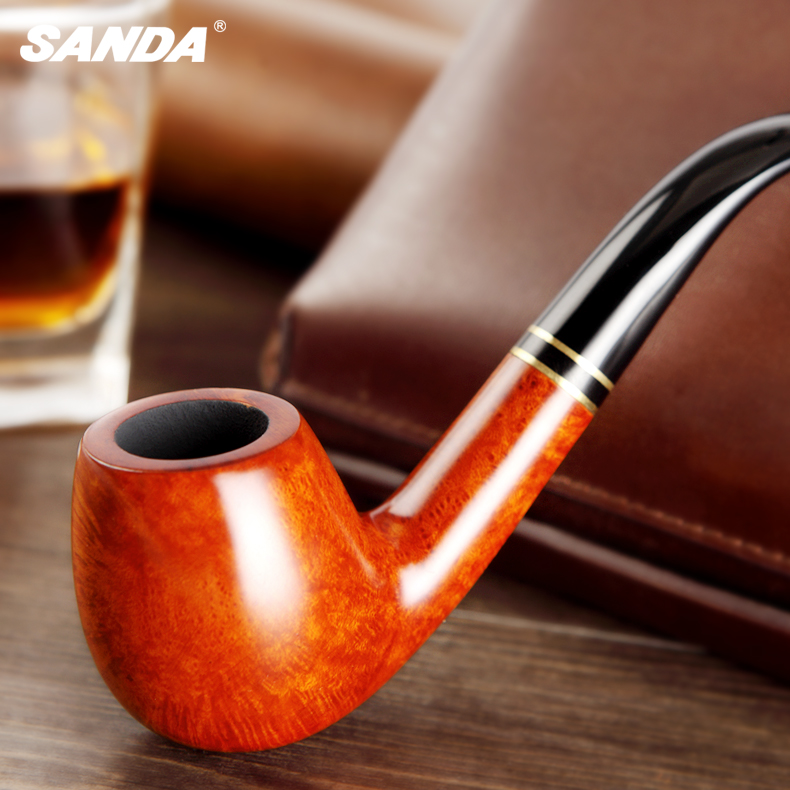 Sanda sanda produced handmade imported briar pipe curved pipe tobacco bucket genuine authors