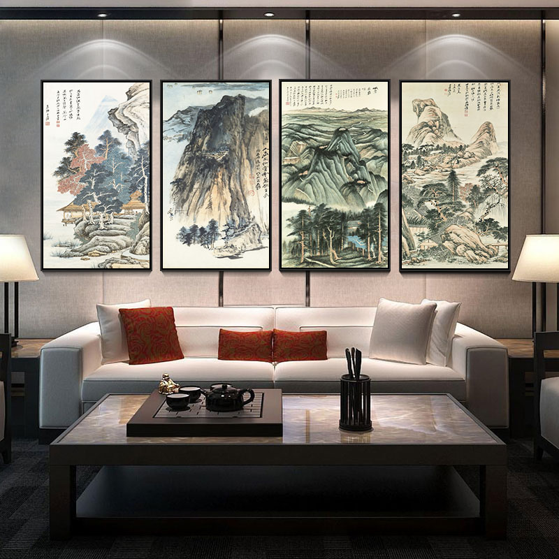 Sandy chang works of chinese landscape painting the living room quadruple screen wood frame painting decorative wall painting mural paintings