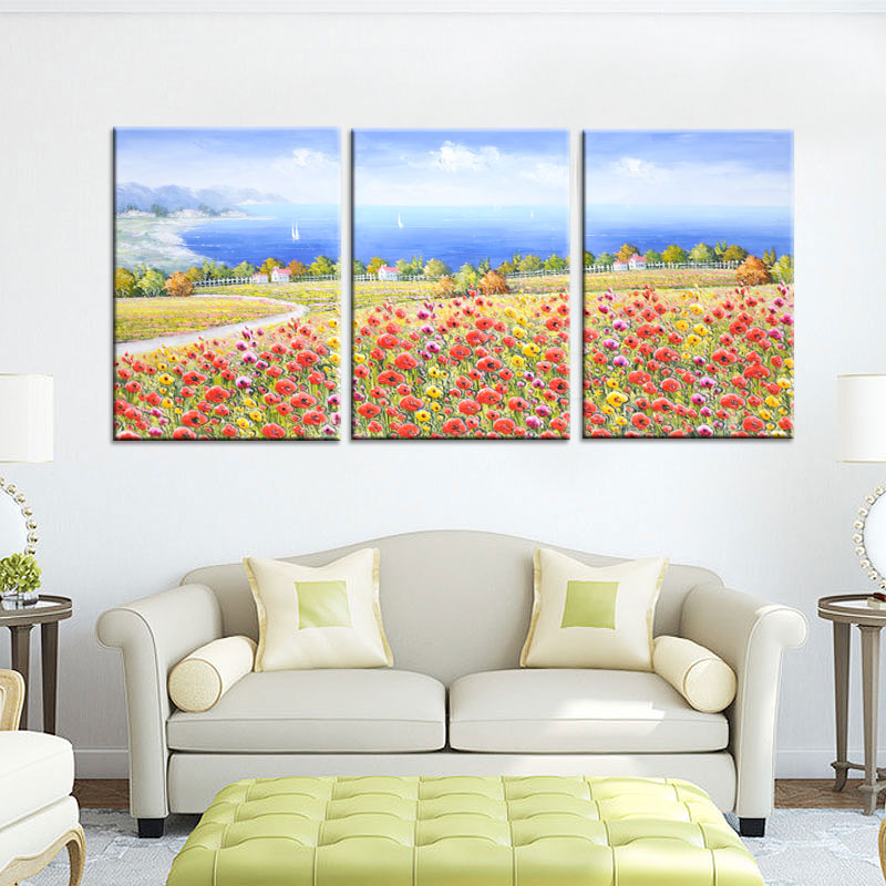 Sandy painted oil painting landscape painting mural paintings of european decorative painting the living room sofa backdrop painting flowers