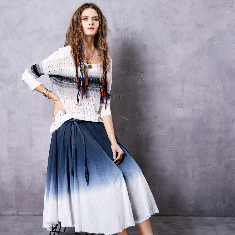 Sang kee mad hanging with 2016 summer new wild retro waist long skirts q A10546X