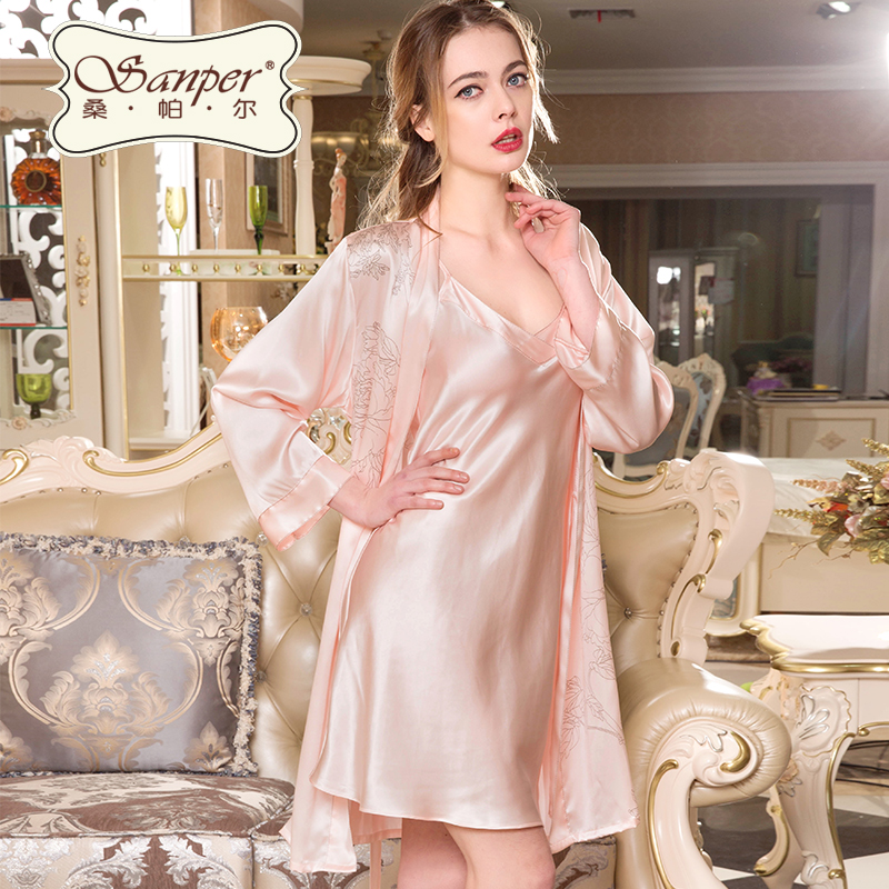 dd4eb39f0e Get Quotations · Sang paer spring and autumn women long sleeve silk  nightgown sexy silk pajamas court sleep robes