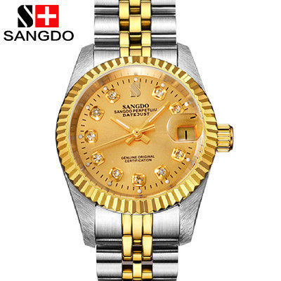 Sangdo sander genuine k gold automatic mechanical men's watches waterproof stainless steel male table calendar