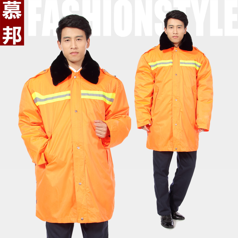 Sanitation cleaners road maids' cotton coat cotton coat thick padded waterproof overalls reflective coat labor