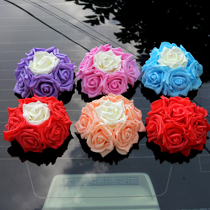 Sansei red string korean wedding car decorated with flowers wedding supplies wedding dress wedding car decorated with flowers round front rear
