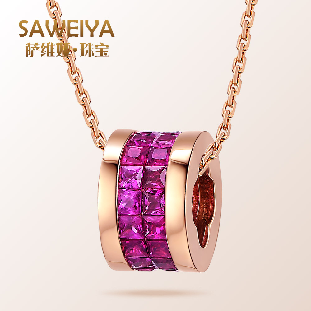 Sawei ya 9K18K saweiya 1.5 karat natural pigeon blood ruby pendant necklace rose gold