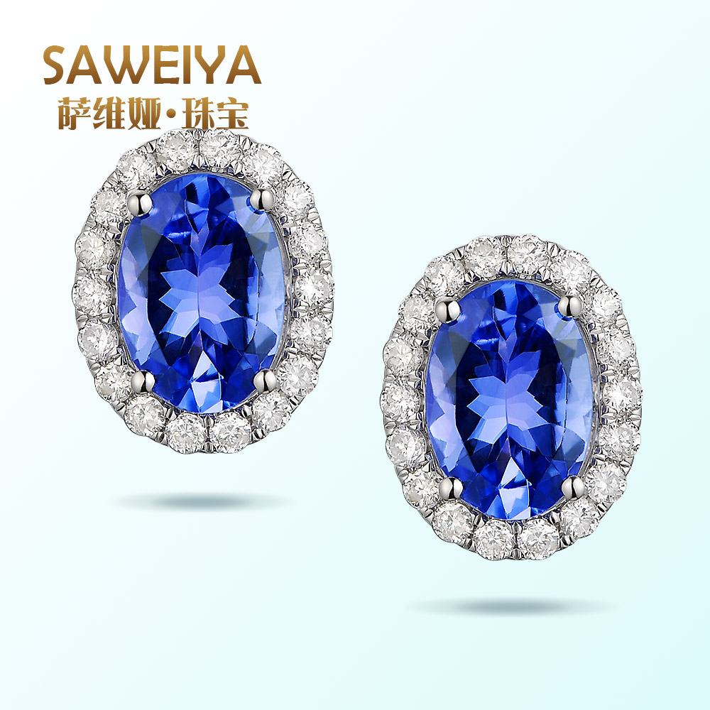 Sawei ya saweiya 1.3 karat kt natural tanzanite 9K18K white gold earrings earrings female multicolored