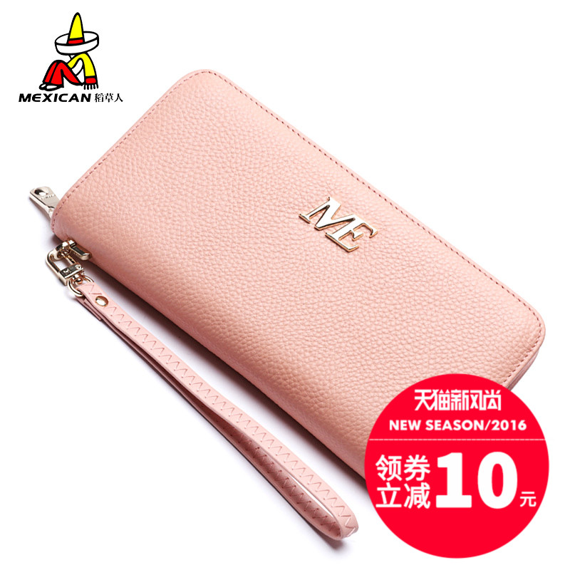 Scarecrow ladies leather wallet 2016 korean version of the new first layer of leather zipper clutch a long section of female wallet