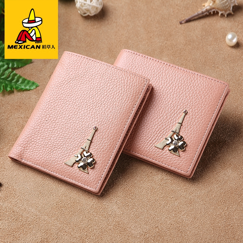 Scarecrow leather fashion large capacity leather wallet female korean version of the pink students simple short section of small thin wallet