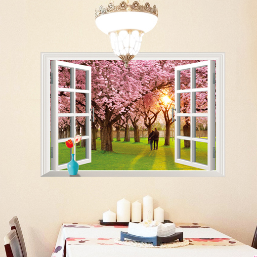 Scenery outside the window can be removed and creative wall stickers living room tv wall romantic bedroom children's creative home decorations