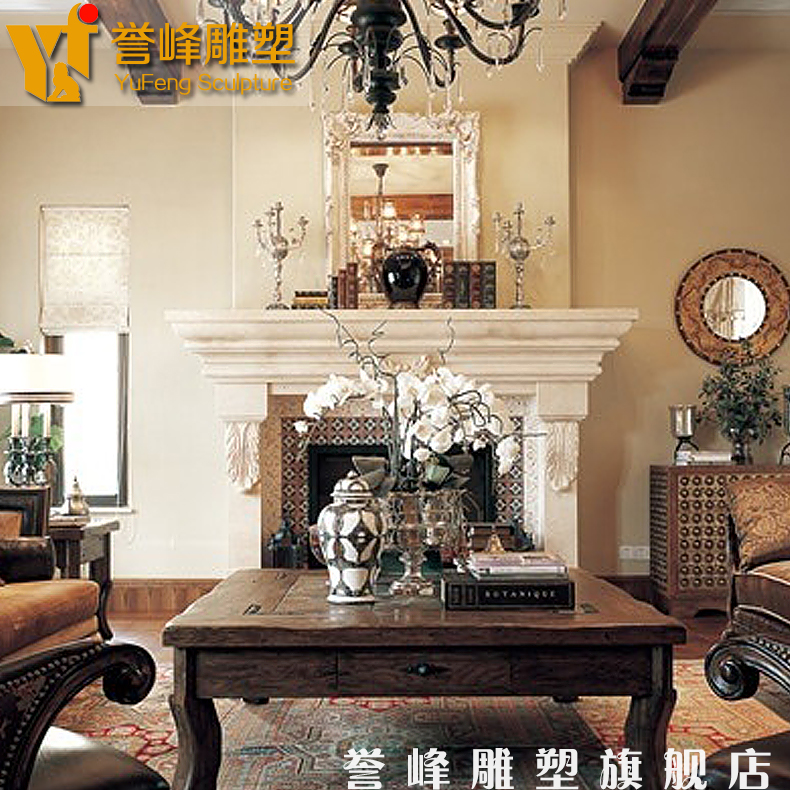 [Sculpture] american light board yufeng fireplace marble fireplace mantel fireplace decoration cabinet fireplace mantel flow lines