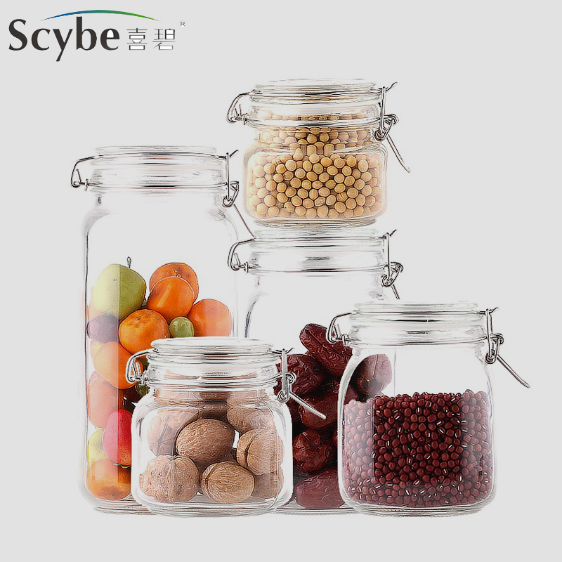 Scybe hebe glass bottles sealed cans milk cans candy jar glass storage jar of honey enzymes shipping