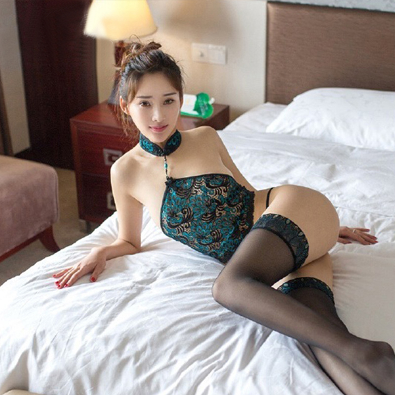 Selebritee ms. peacock pattern classical sexy stockings sexy lingerie suit lace halter apron three points