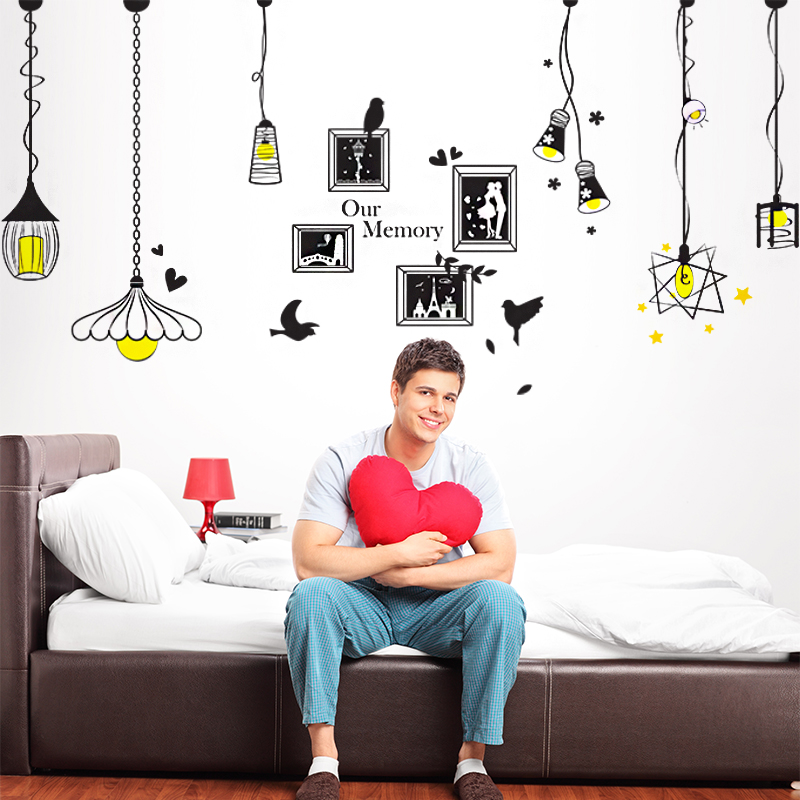 Self adhesive wall stickers living room sofa bed bedroom wall decoration sticker cozy european style decoration droplight frame stickers