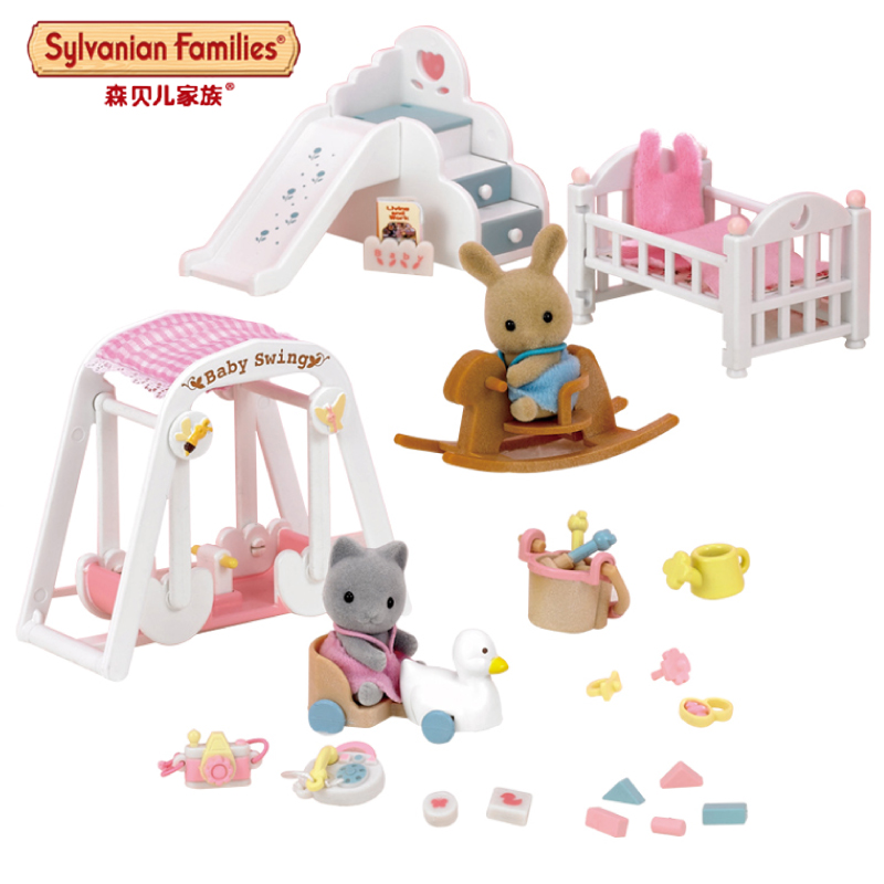 Semipkg children sylvanian family cat bunny room set of 17058 girls play house simulation toys