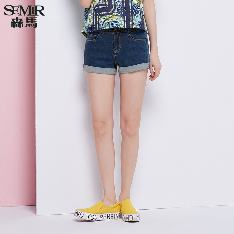 Semir 2016 summer new ladies high waist denim shorts washed jeans straight jeans pants shorts korean tide