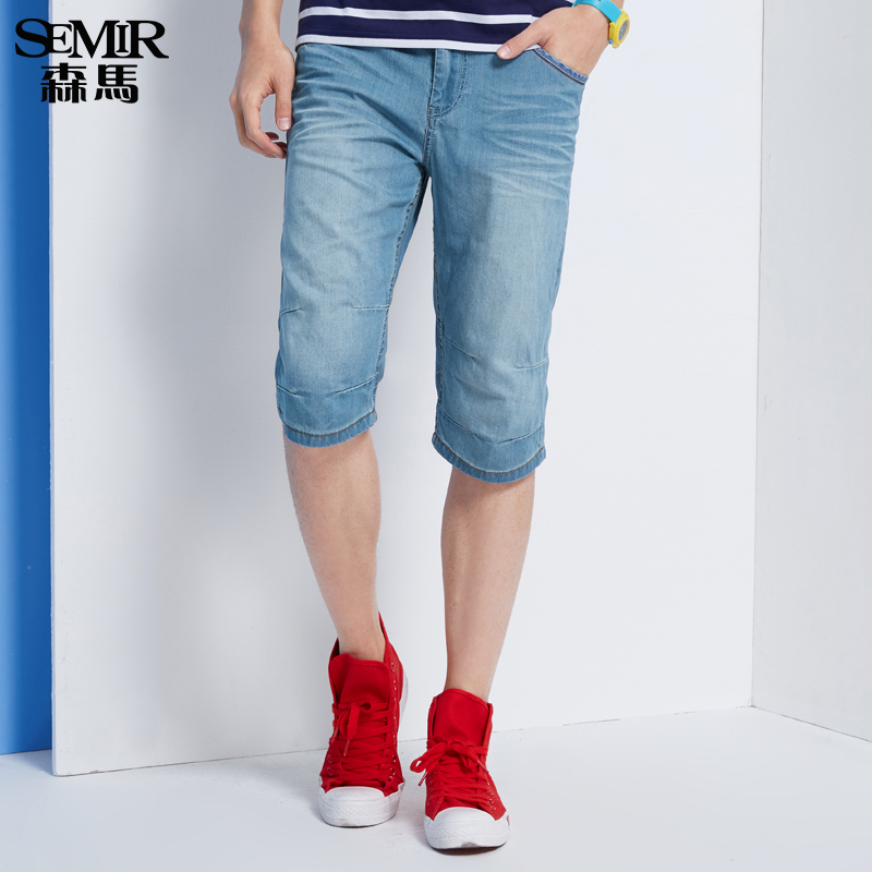 Semir 2016 summer new men's washed jeans straight jeans denim pants pants six korean version of the influx of men