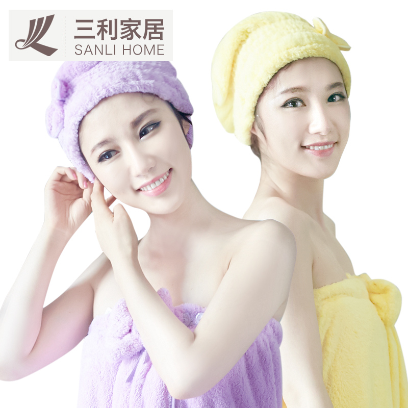 [Send] sanli dry hair cap strong absorbent towel to increase adult bath skirt bra cute female spring and autumn can wear hair towels